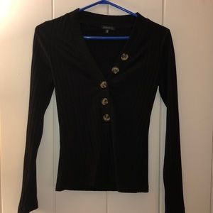 Black Ribbed body con long sleeve with buttons!